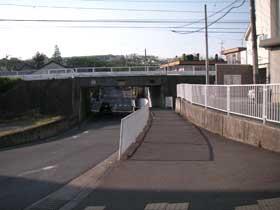 高架が246号。右が渋谷、左が沼津。くぐったらすぐ車がいるあたりを左折します。