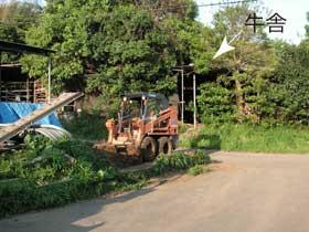 たい肥のためと思われるトラクター。木に覆われているのが牛舎です。