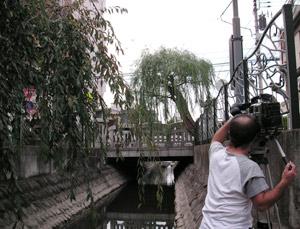 溝口の大石橋。二ヶ領用水に下りて撮影していました。