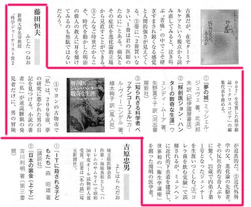 「日本医事新報」 2007年8月4日号 28頁「2007年、夏。 わたしの3冊」 (…医界の愛書家5氏に「最近、興味深く読んだ本」を、ジャンルを問わず3冊挙げていただきました…)