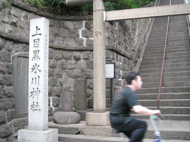 氷川神社 鳥居横に大山道標