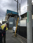 電柱の街区表示板「狛江」