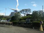 二子神社横の岡本かの子記念碑