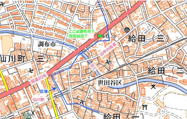 青線が区市境。アーベイン世田谷に入居する店舗の所在地も世田谷区になっています。