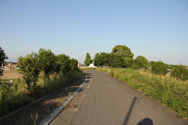 橋を渡ると安八郡安八町と瑞穂市の境の土手道を進みます。