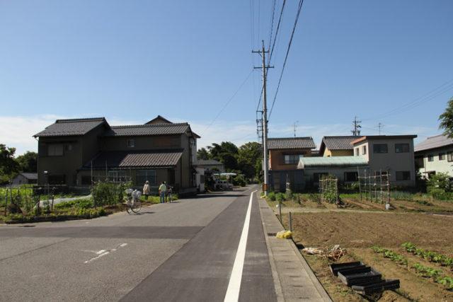 正木町大浦から起の渡船場をめざします。畑になっているこのあたりですが、河川改修する前の木曽川の堤防で、かつては松並木だったそうです。