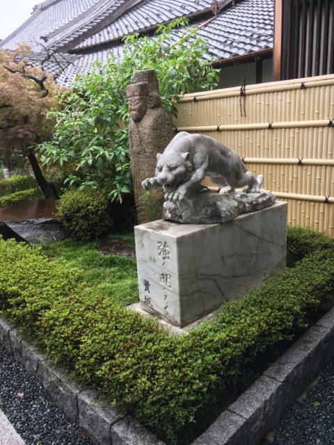 清涼寺境内の虎? 「強く明るく」と台座に彫られています。
