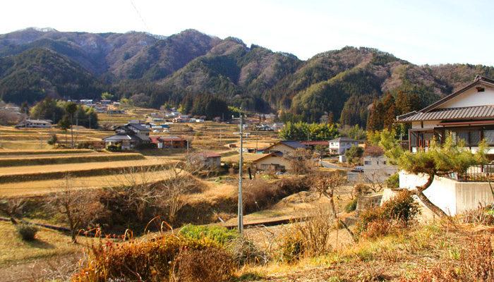 長野地区の中山道。段々畑が美しい