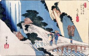 広重「上ヶ枩」小野の滝を見ている旅人と柴を担いだ村人。