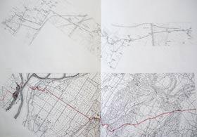 中平さんから頂いた地図。上が『ホントに歩く大山街道』のコース図をつなげたもの。下は迅速図(赤線で本日のコースが入っている)。コース図に合わせて迅速図も傾けて配置されており、比較しながら見ることができる素晴らしい地図です。