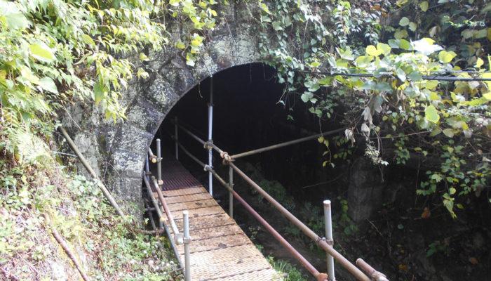 三留野と野尻の間、国道と中央線をくぐるための歩行者用トンネル。うすぐらい