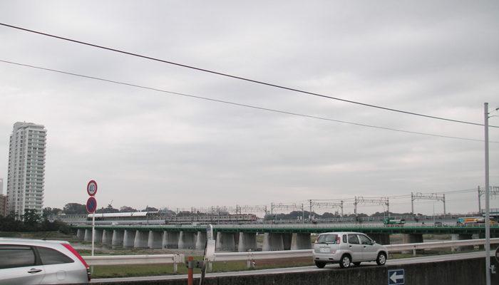 二子新地(川崎市)側から見た二子橋