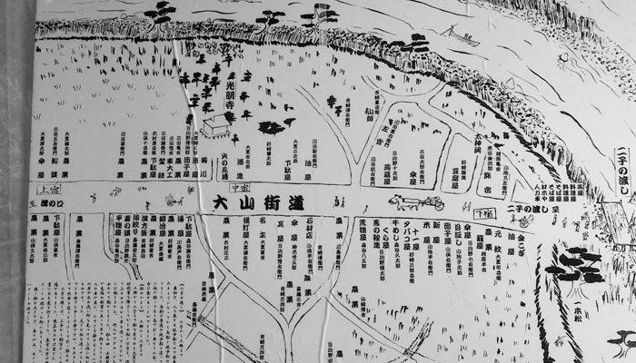 二子宿の絵図(大山街道ふるさと館にある)。店がいっぱい