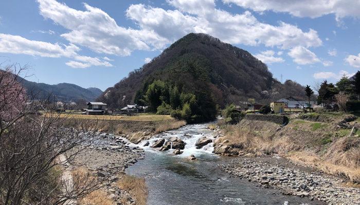 依田川と大門川が合流する「落合」