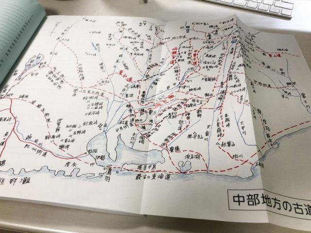 「中部地方の古道 武将も通った」より中部地方の古道全体図